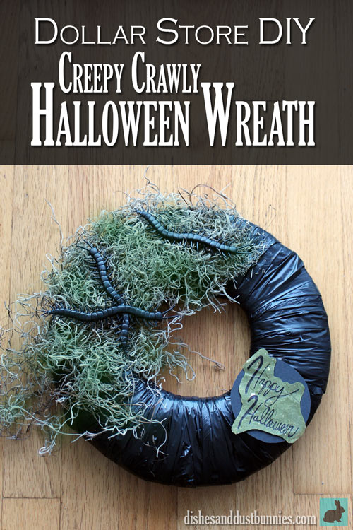 Dollar Store DIY Creepy Crawly Halloween Wreath