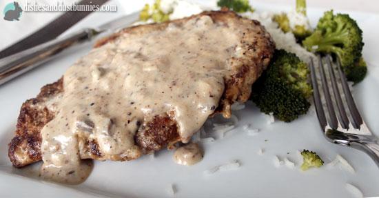 Mushroom Gravy Smothered Pork Chops