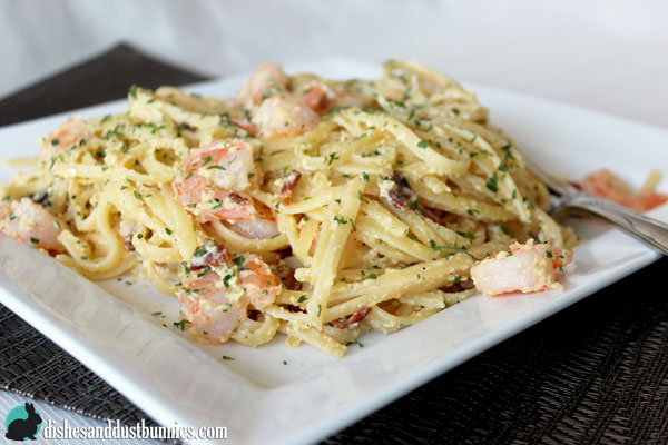 Shrimp and Bacon Pasta Carbonara - Dishes and Dust Bunnies
