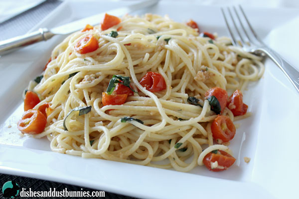 Garlic and Parmesan Pasta with basil and Cherry Tomatoes