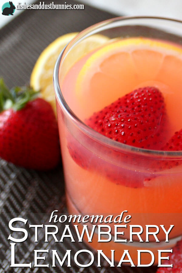 Homemade Strawberry Lemonade Recipe - Dishes and Dust Bunnies