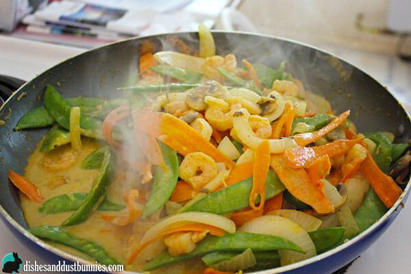 Shrimp Curry and Veggie Stir Fry