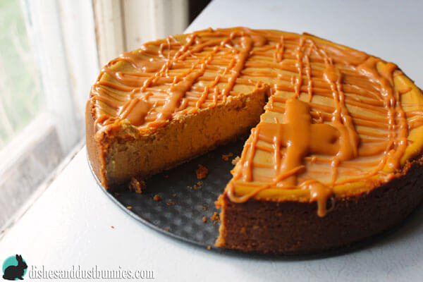 Pumpkin Cheesecake with Butterscotch Drizzle from Dishes & Dust Bunnies