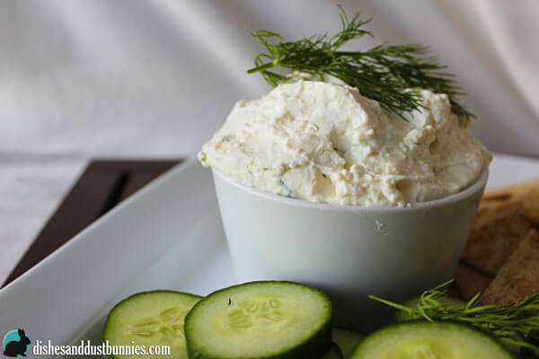 Feta and Cream Cheese Dip with garlic and dill