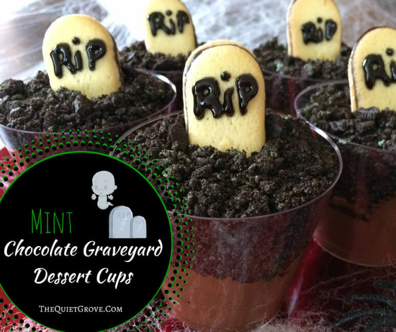 Mint Chocolate Graveyard Dessert Cups from The Quiet Grove