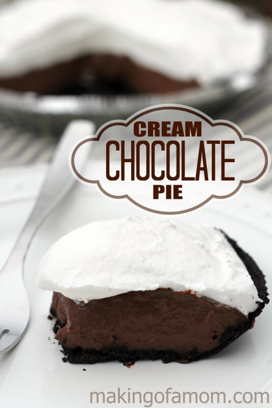 Cream Chocolate Pie from Making of a Mom