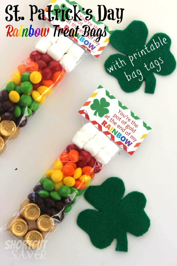 St. Patrick's Day Rainbow Treat Bags with Free Printable Bag Tags from Everyday Shortcuts