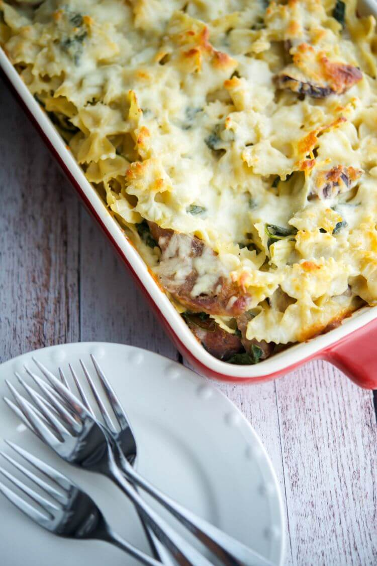 Sausage, Spinach & Artichoke Pasta Casserole from Carrie's Experimental Kitchen