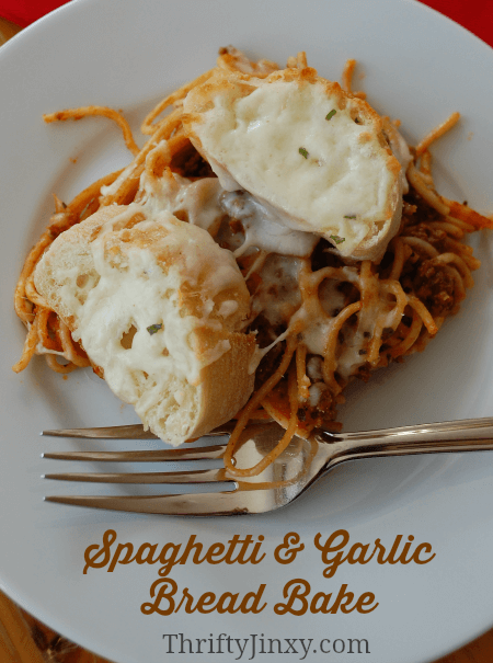 Spaghetti and Garlic Bread Bake Recipe from Thrifty Jinxy
