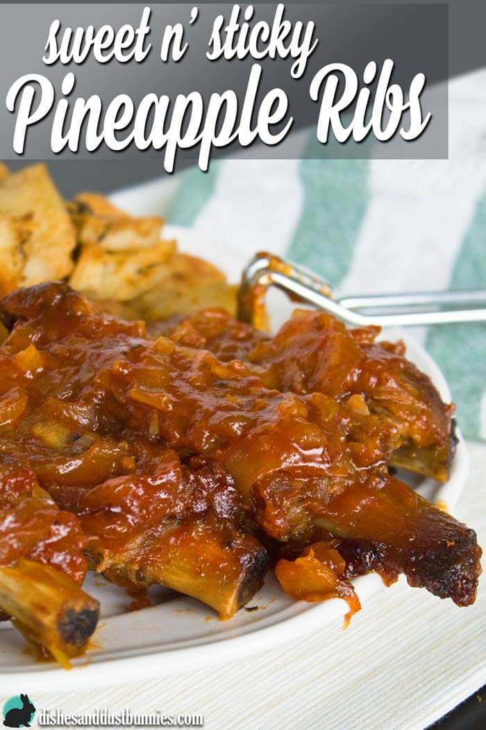 Sweet and Sticky Pineapple Ribs from dishesanddustbunnies.com
