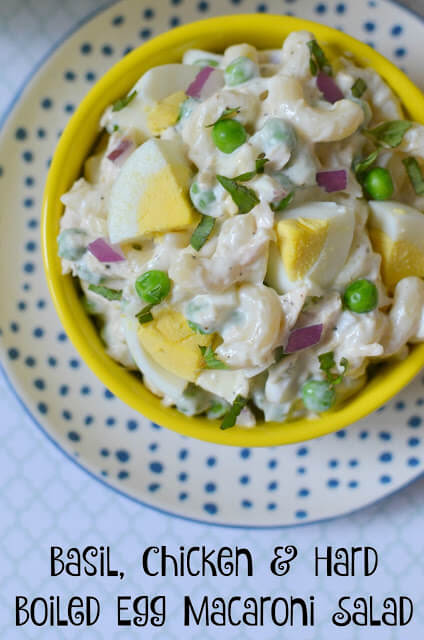 Basil, Chicken and Hard Boiled Egg Macaroni Salad from Hot Eats and Cool Reads