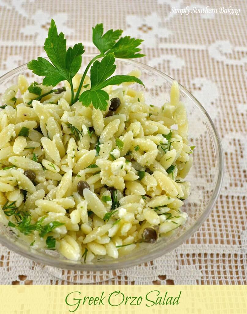Greek Orzo Salad from Simply Southern Baking
