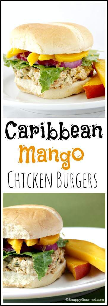 Caribbean Mango Chicken Burgers from Snappy Gourmet