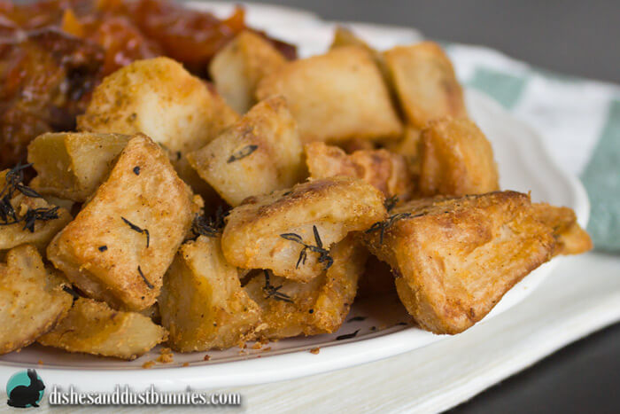 Easy Roasted Potatoes from dishesanddustbunnies.com