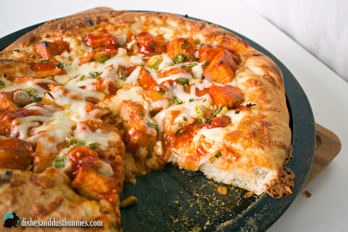 Buffalo Chicken Pizza from dishesanddustbunnies.com