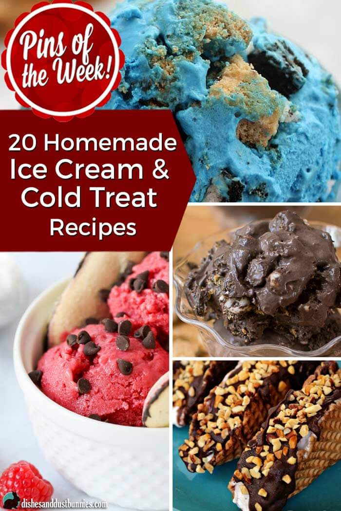 20 Homemade Ice Cream & Cold Treat Recipes - Pins of the Week! from dishesanddustbunnies.com