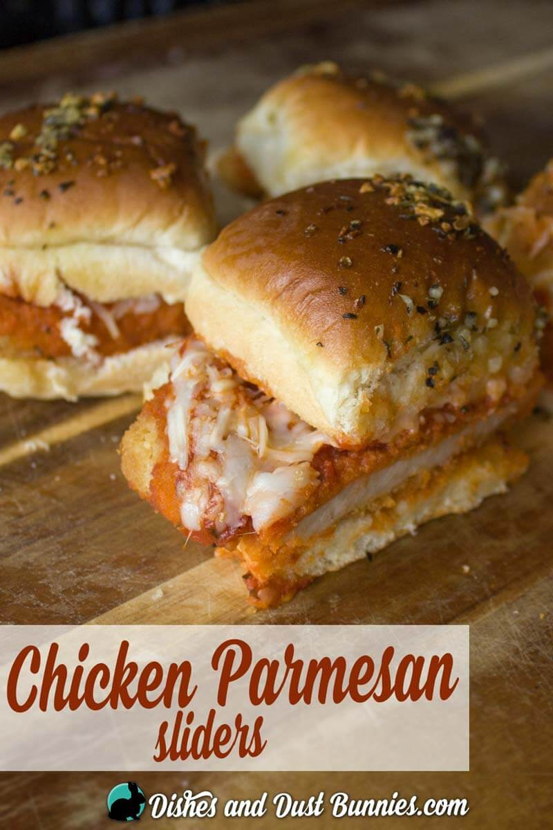 Baked Chicken Parmesan Sliders from dishesanddustbunnies.com