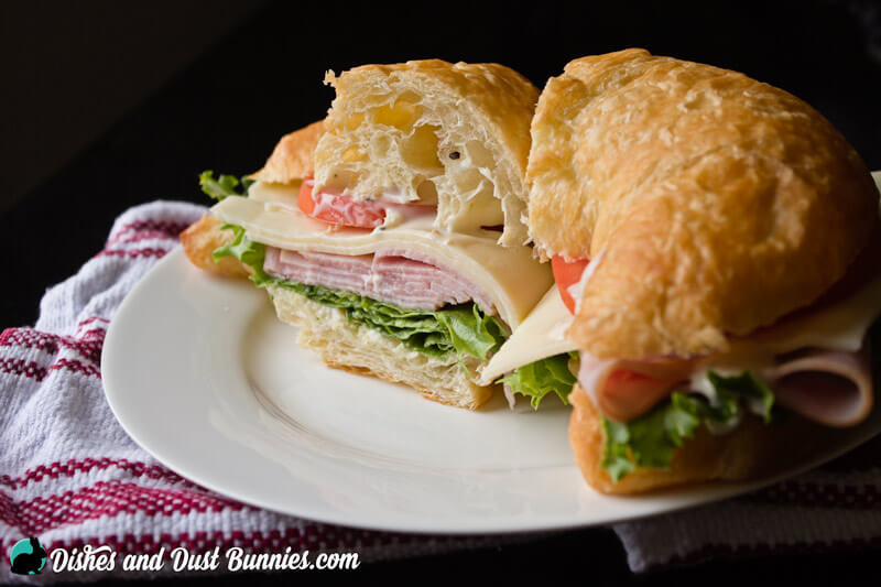 Ham and Swiss Croissant Sandwiches from dishesanddustbunnies.com