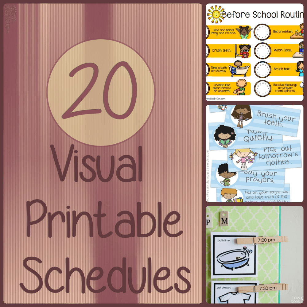 23 free printable visual schedules for home and daily routines from That Special Needs Mom