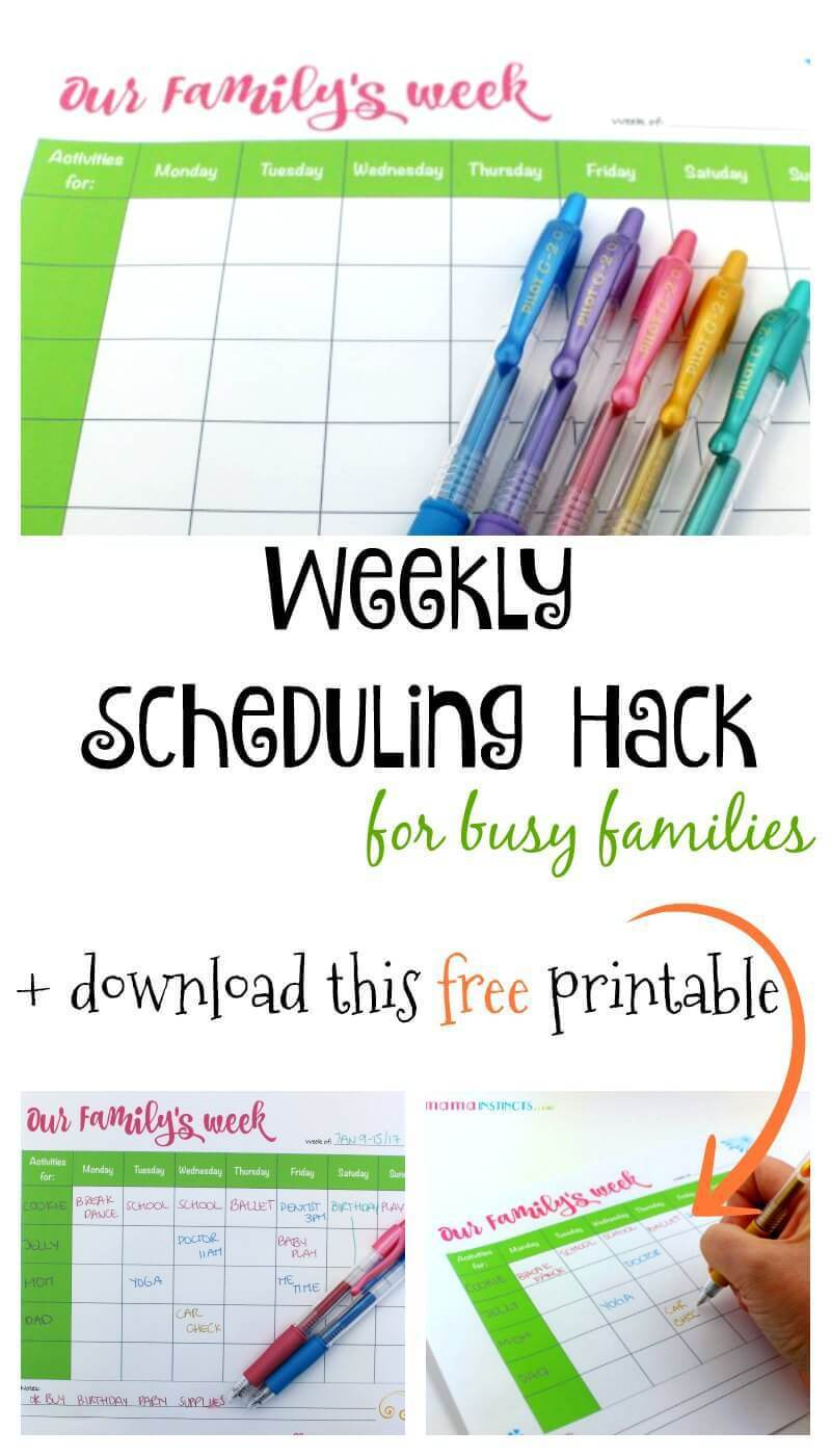 Weekly Scheduling Hack for Busy Families + free printable from Mama Instincts