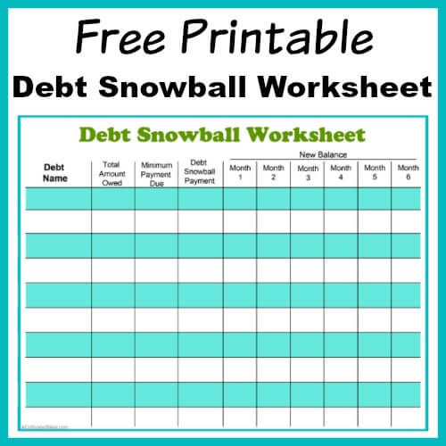 Free Printable Debt Snowball Worksheet from A Cultivated Nest