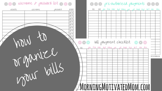 How to Organize Your Bills from Morning Motivated Mom