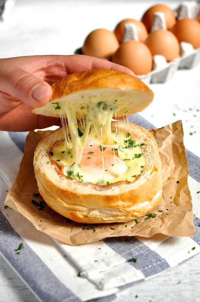 Ham, Egg and Cheese Bread Bowls from RecipeTin Eats