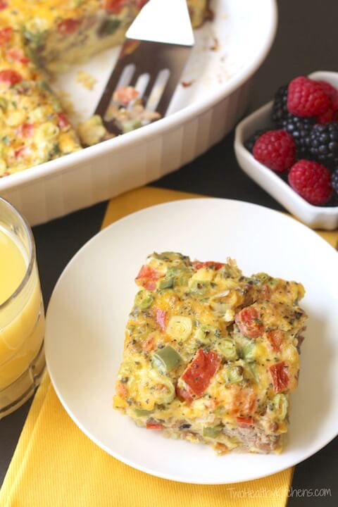 Farmers' Market Overnight Breakfast Egg Casserole from Two Healthy Kitchens