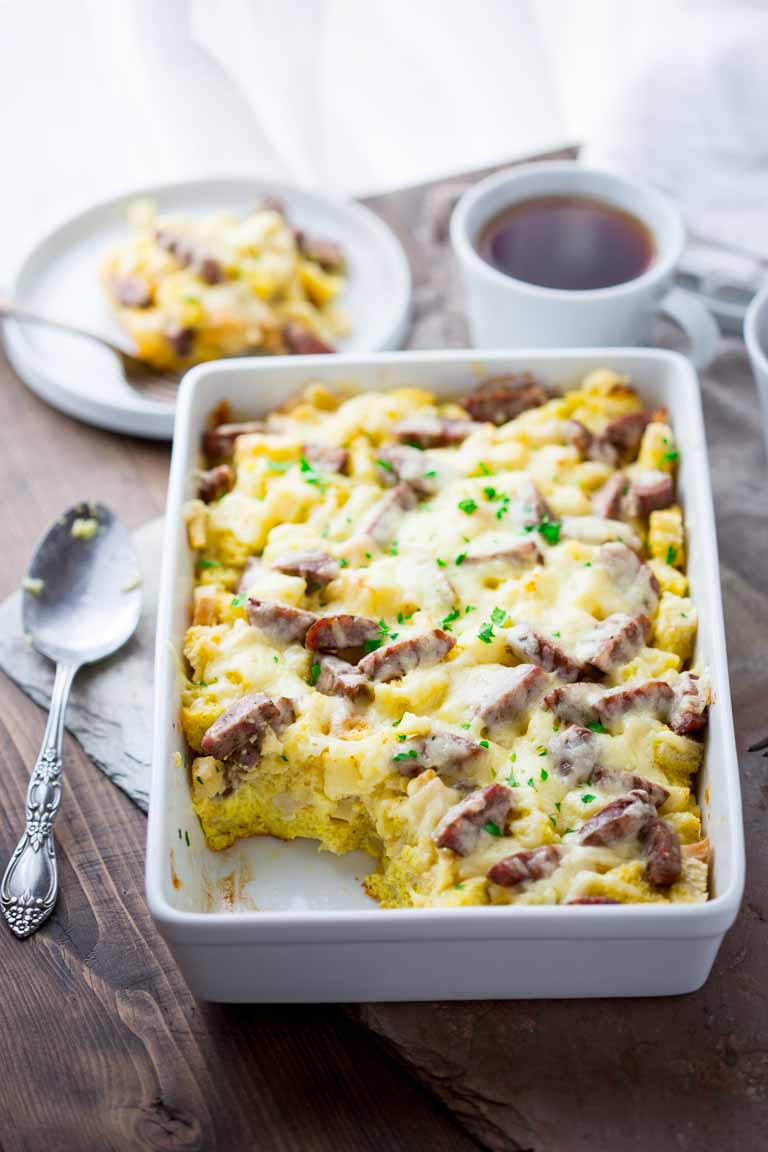 Apple Cheddar and Sausage Breakfast Strata from Healthy Seasonal Recipes