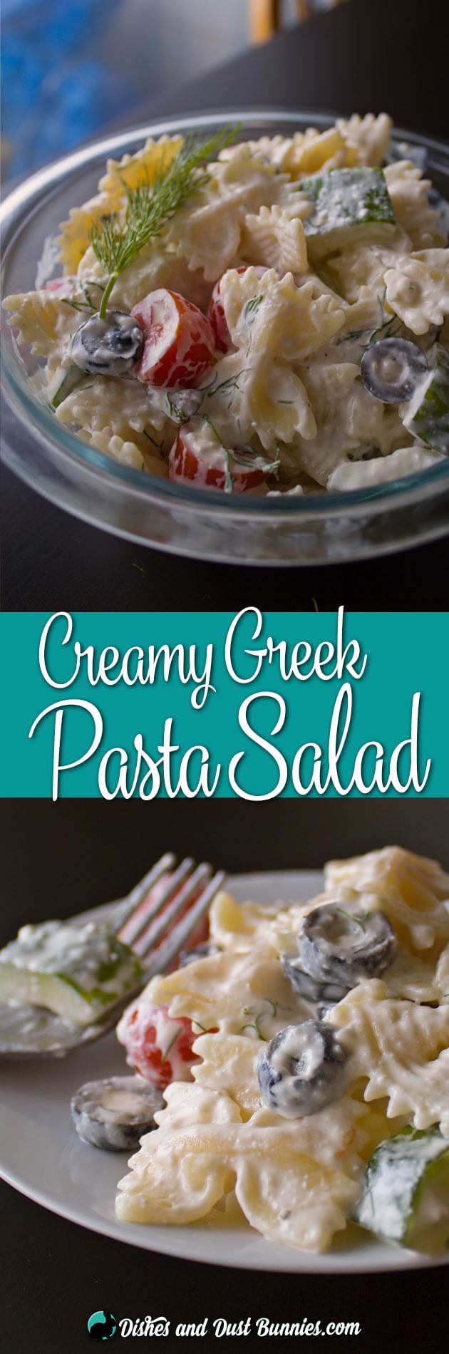 Creamy Greek Pasta Salad with Feta from dishesanddustbunnies.com