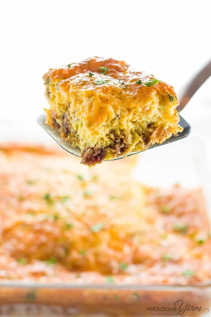 Low Carb Breakfast Casserole with Sausage & Cheese (Gluten-Free) from Wholesome Yum