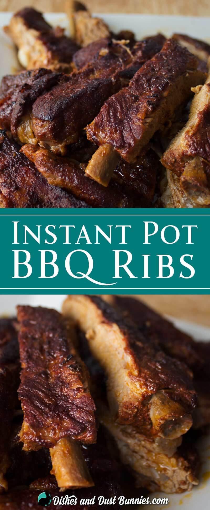 Instant Pot BBQ Ribs from dishesanddustbunnies.com