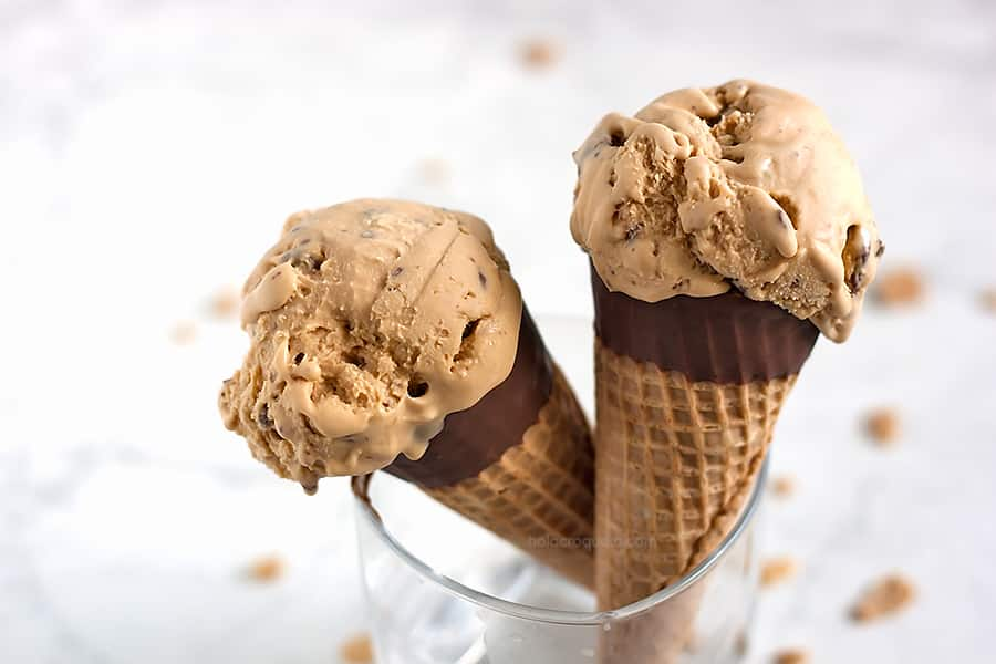 Salted Caramel Cone Ice Cream (Haagen-Dazs Inspired) from A Sassy Spoon
