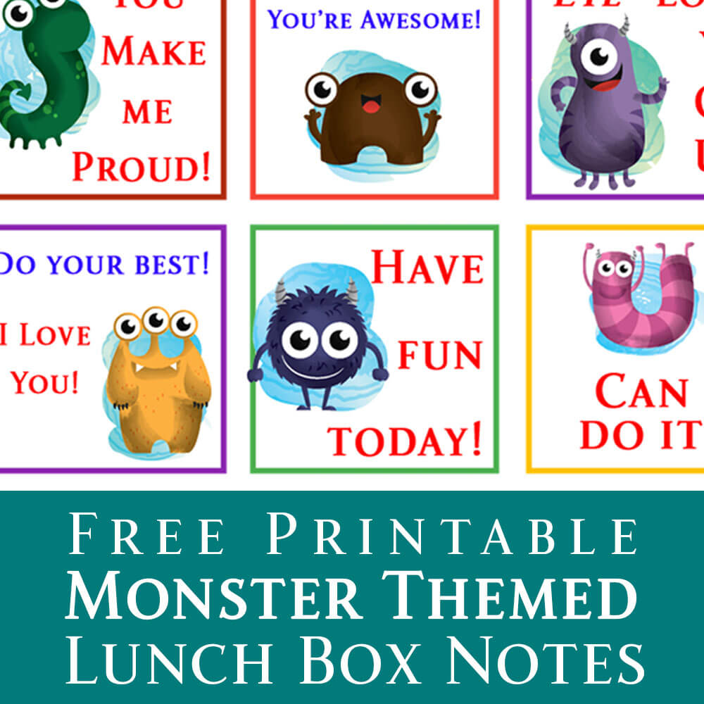 Free Printable Kids Lunch Box Notes from dishesanddustbunnies.com