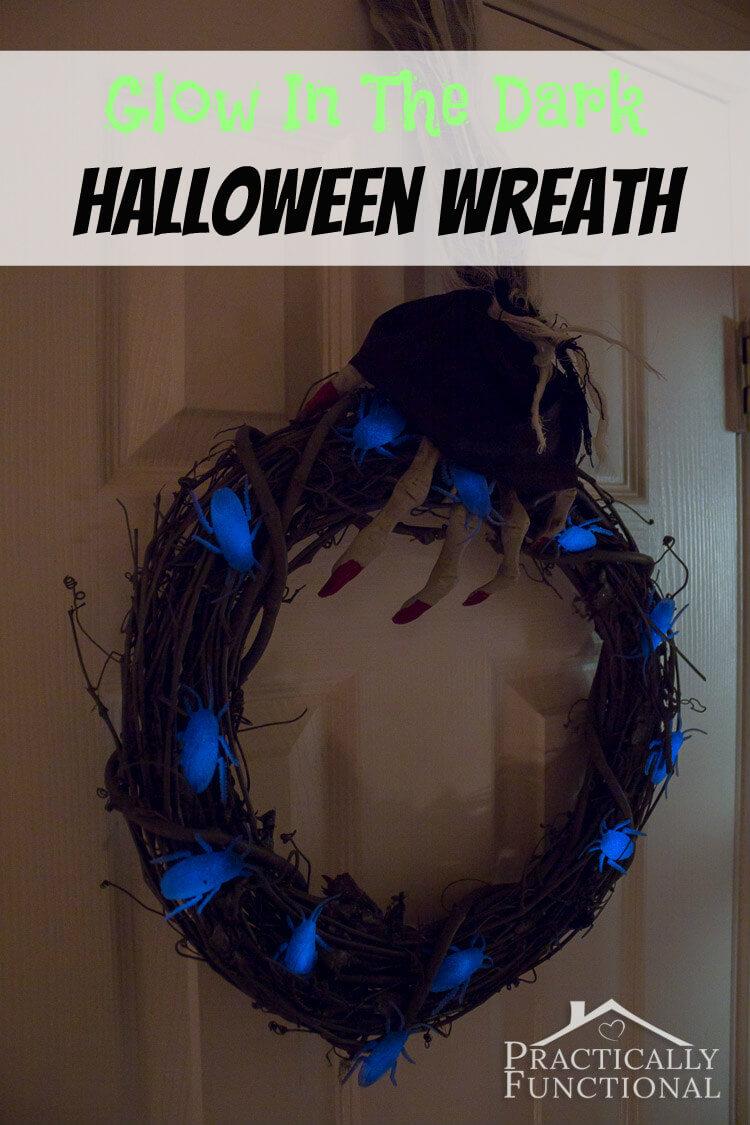DIY Glow in the Dark Halloween Wreath from Practically Functional