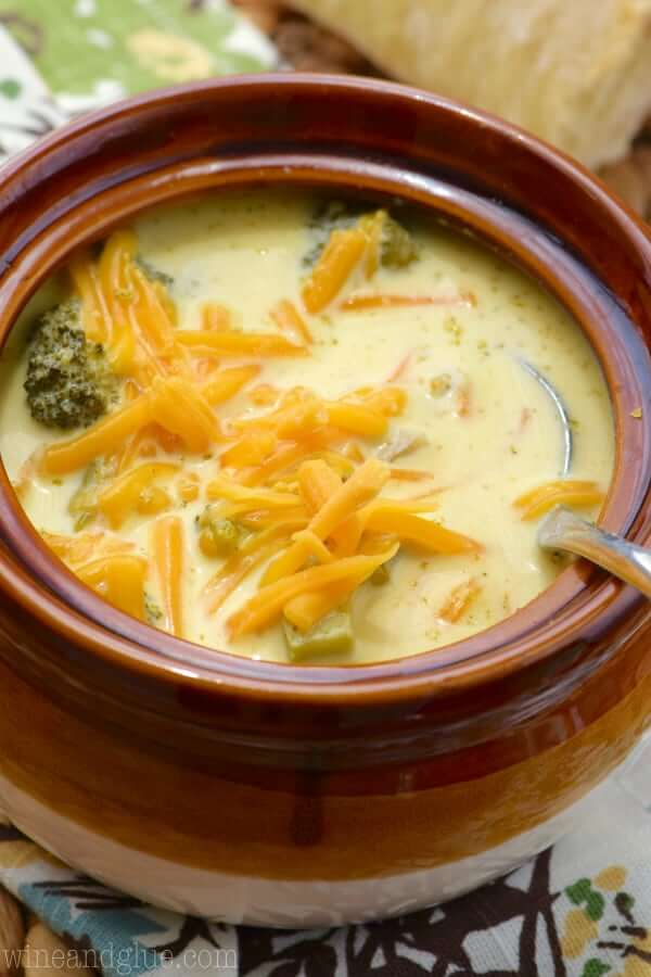 Slow Cooker Broccoli Cheddar Soup from Wine and Glue
