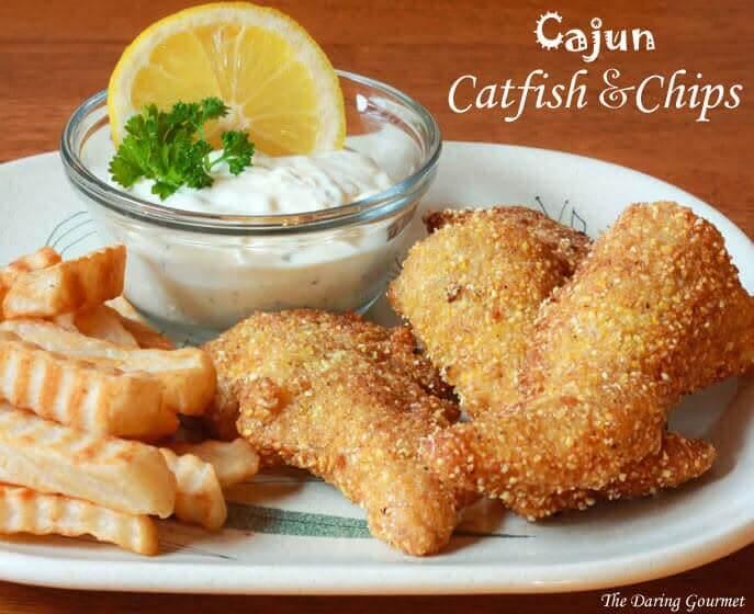 Cajun Catfish & Chips with Tartar Sauce from Daring Gourmet