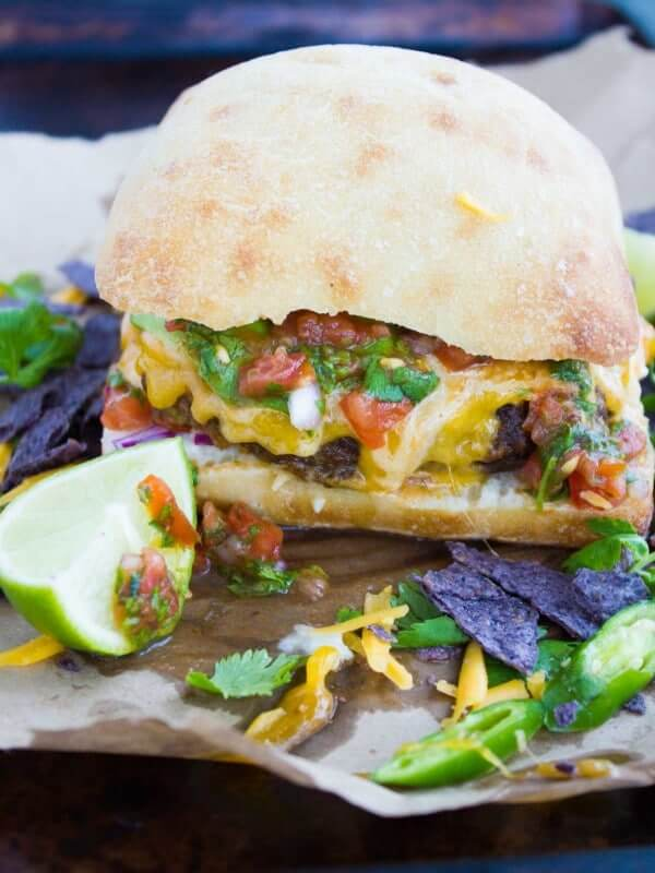 Spicy Beef Fajita Burgers from Two Purple Figs