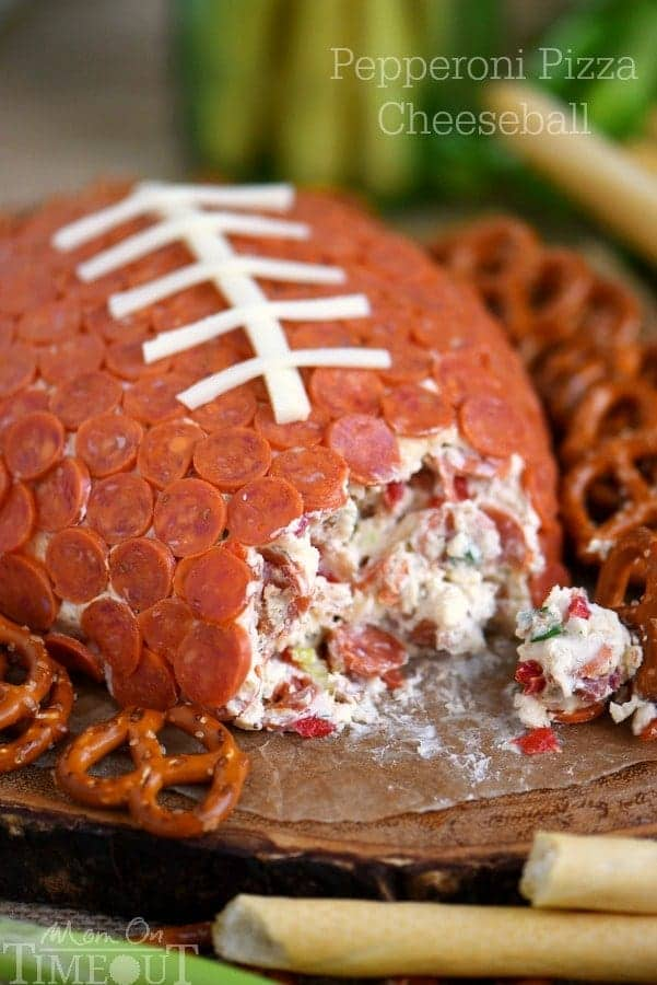 Pepperoni Pizza Football Cheese Ball from Mom on Timeout