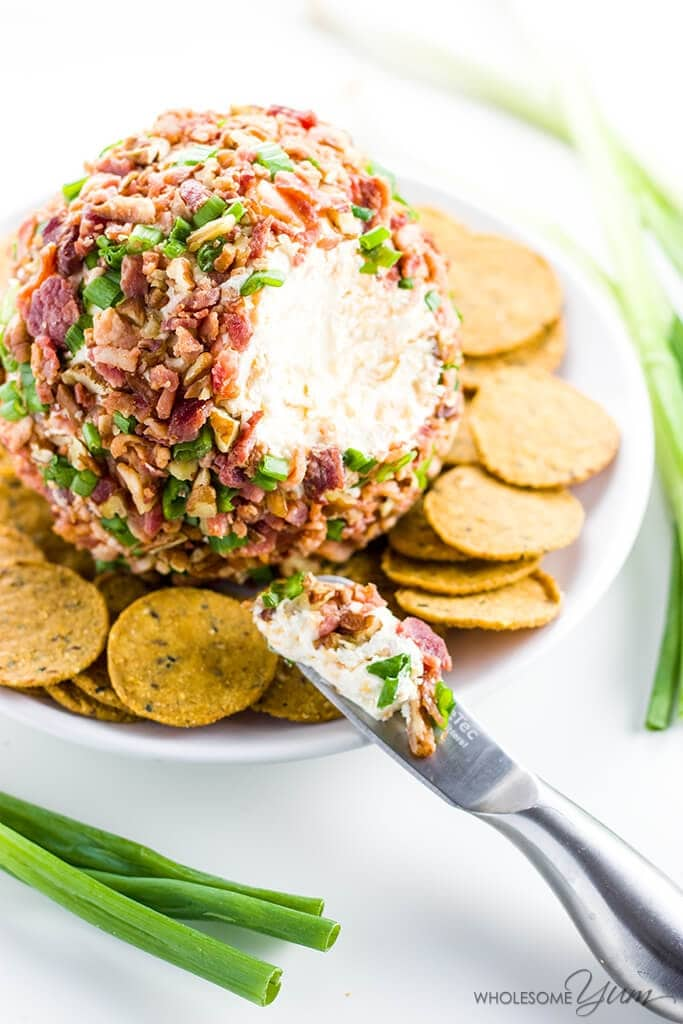 Easy Cheese Ball Recipe with Cream Cheese, Bacon & Green Onion from Wholesome Yum