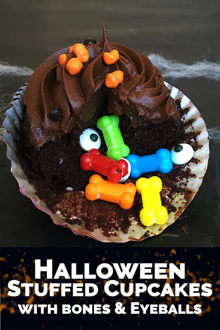 Spooky Stuffed Halloween Cupcakes from A Side of Sweet