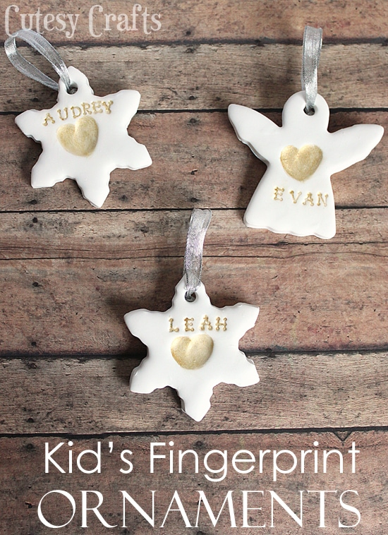Kid's Fingerprint Handmade Christmas Ornaments from Cutesy Crafts