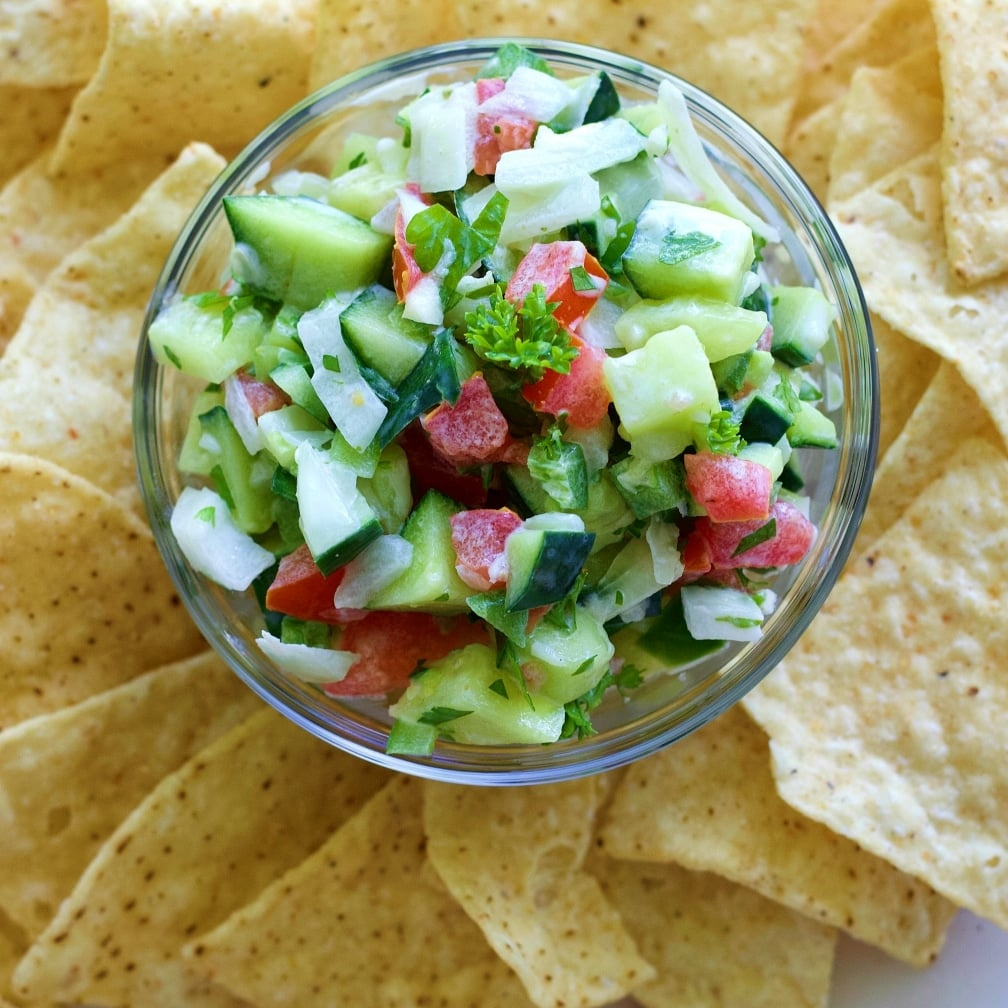 Crisp Cucumber Salsa Recipe from Homemade Food Junkie