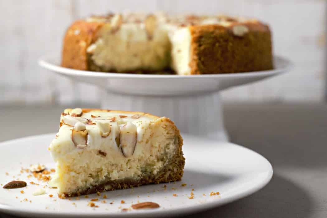 White Chocolate Almond Amaretto Cheesecake Recipe for Two from Zona Cooks