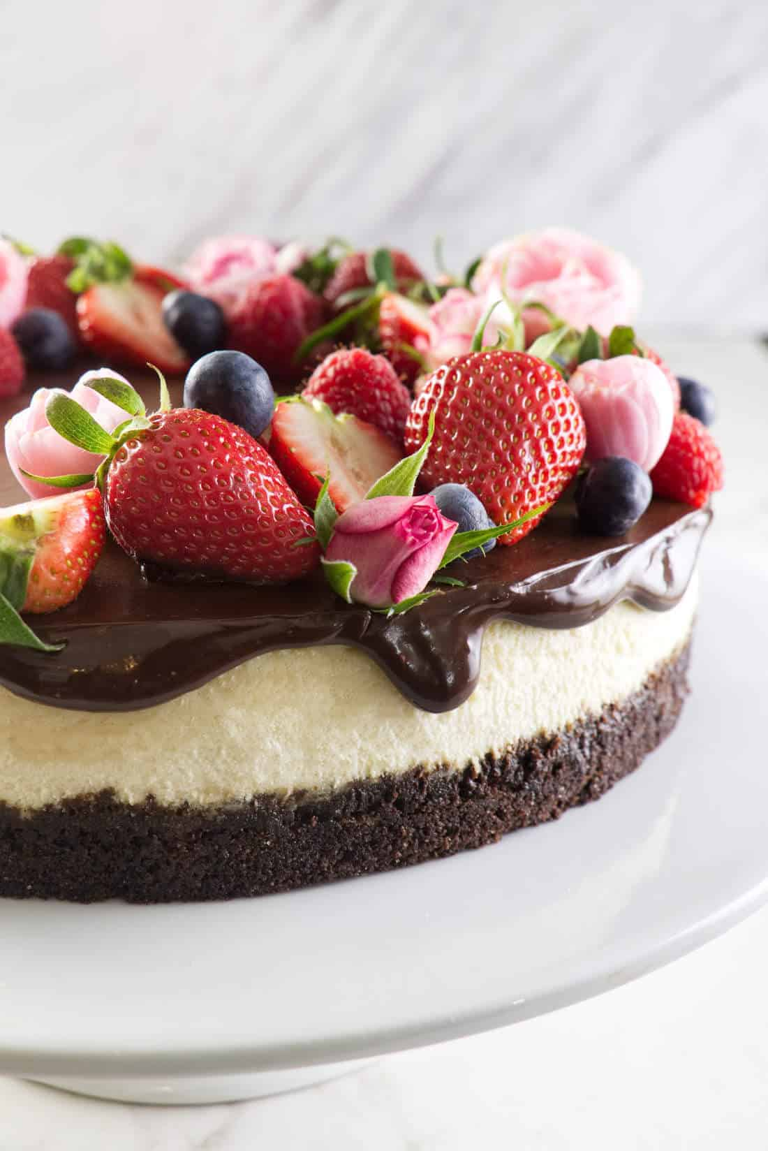 Bourbon Vanilla Cheesecake with Chocolate Ganache from Savor the Best