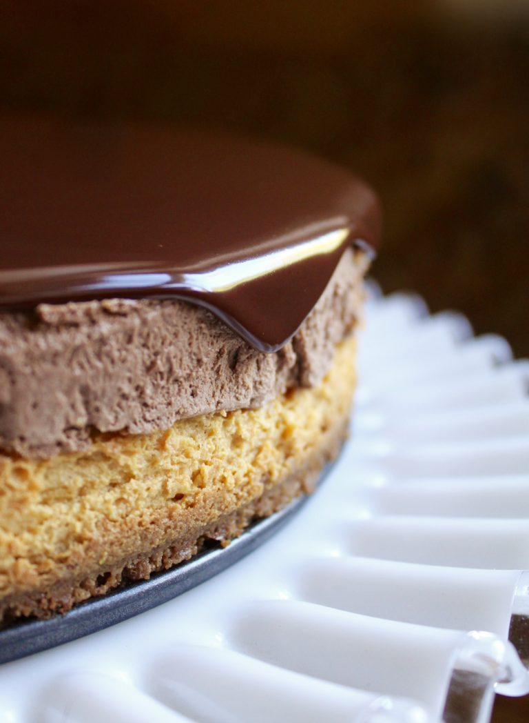 Pumpkin Cheesecake and Chocolate Mousse Topped with Dark Chocolate Ganache from Christina's Cucina