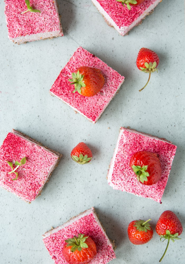 No-Bake Strawberry Cheesecake Bars (Gluten-Free) from The Petite Cook