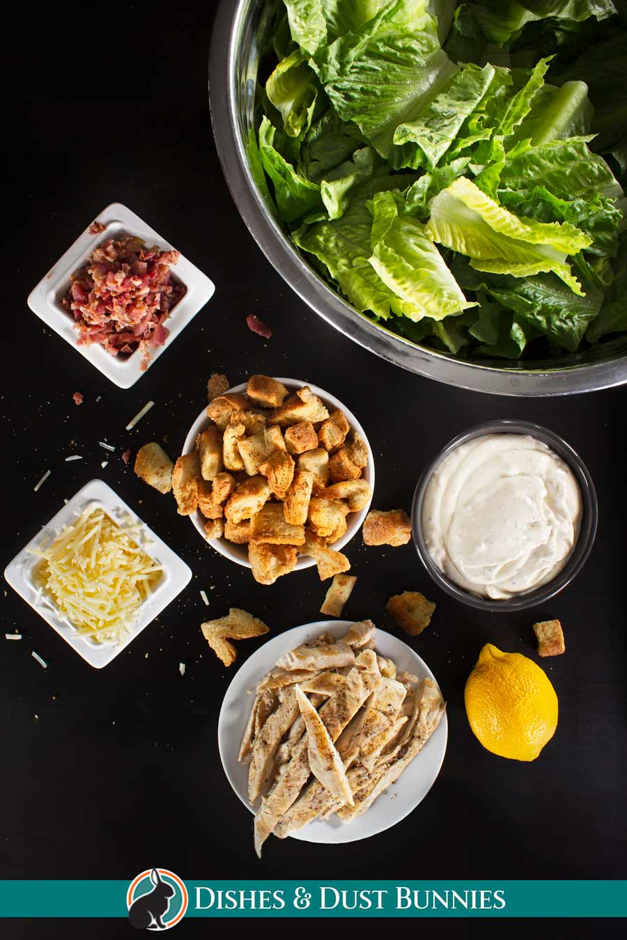Croutons with other ingredients for Ceasar salad