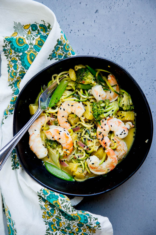 Thai Green Curry Zoodles with Shrimp and Broccoli from Perry's Plate