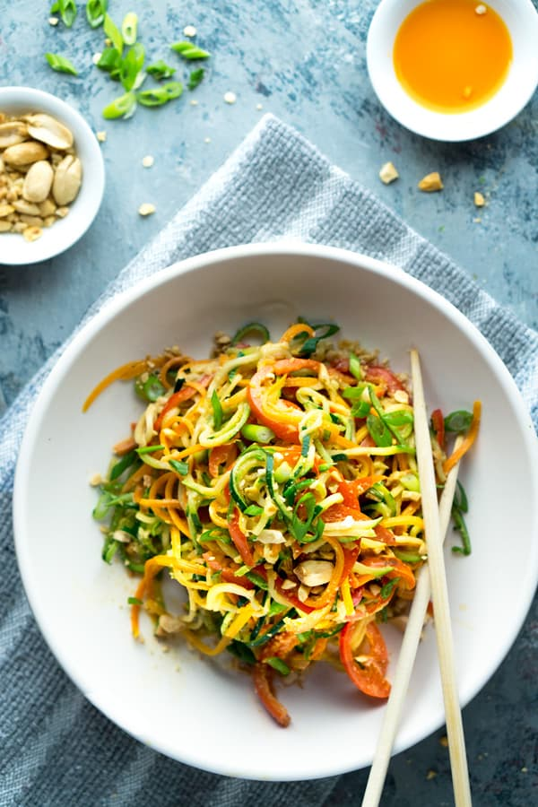 Vegan Thai Peanut Zucchini Noodles from The Kitchen Girl